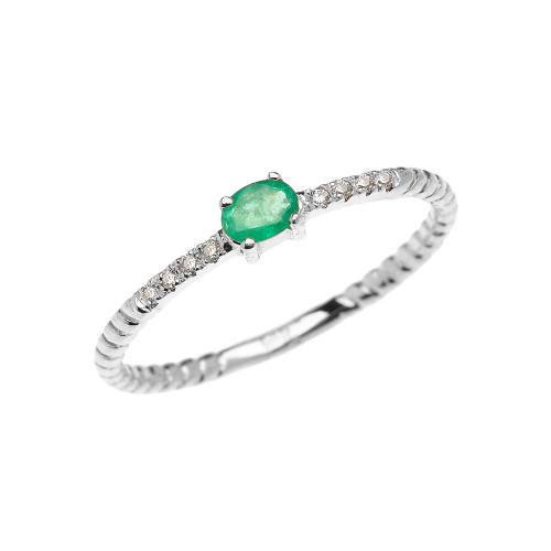 White Gold Dainty Solitaire Emerald and Diamond Rope Design Promise Ring