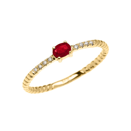 Yellow Gold Dainty Solitaire Ruby and Diamond Rope Design Promise Ring