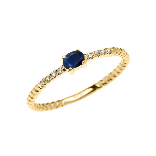 Yellow Gold Dainty Solitaire Sapphire and Diamond Rope Design Promise Ring