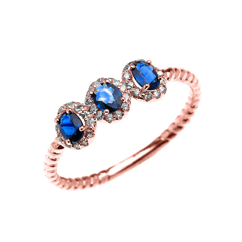 Dainty Rose Gold Three Stone Oval Sapphire and Halo Diamond Rope Design Engagement/Promise Ring