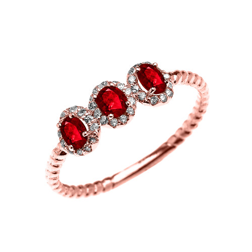 Dainty Rose Gold Three Stone Oval Ruby and Halo Diamond Rope Design Engagement/Promise Ring