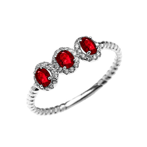 Dainty White Gold Three Stone Oval Ruby and Halo Diamond Rope Design Engagement/Promise Ring