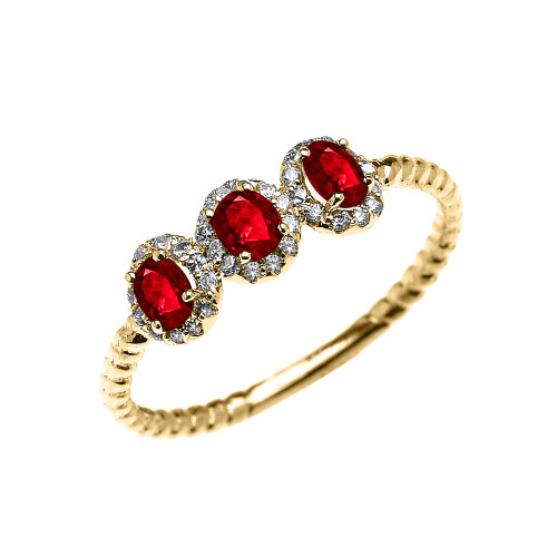 Dainty Yellow Gold Three Stone Oval Ruby and Halo Diamond Rope Design Engagement/Promise Ring