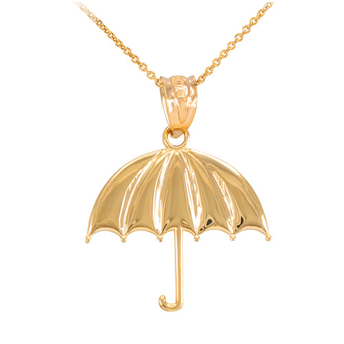 Gold Open Umbrella Pendant Necklace