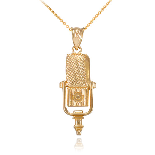 Gold Studio Microphone Pendant Necklace