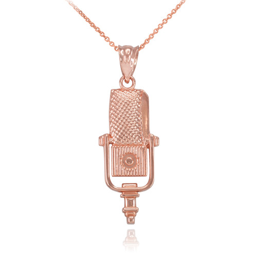 Rose Gold Studio Microphone Pendant Necklace
