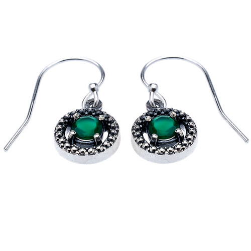 Sterling Silver Round Green Agate Dangling Earrings