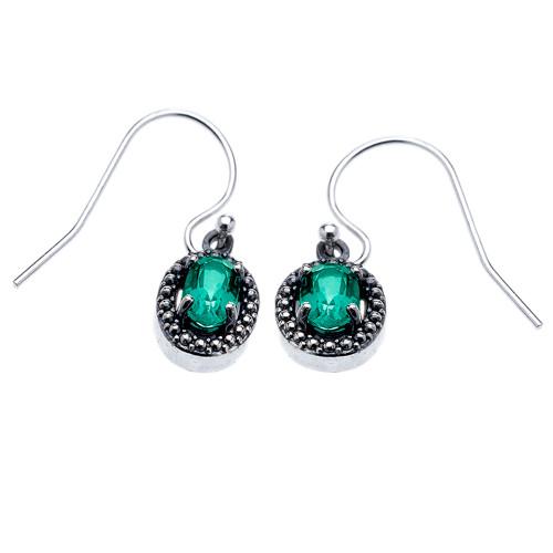 Sterling Silver Oval Green Topaz Dangling Earrings