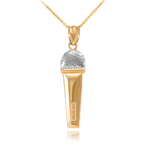 Two-Tone Gold Microphone Pendant Necklace