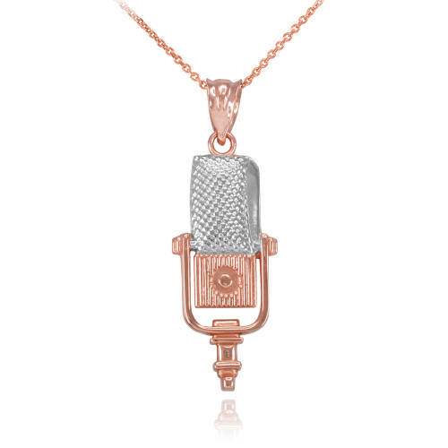 Two-Tone Rose Gold Studio Microphone Pendant Necklace