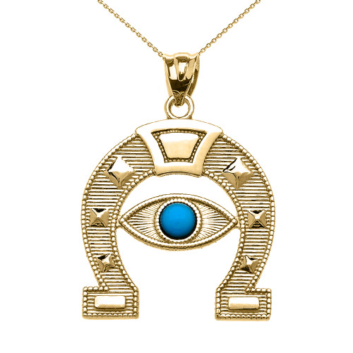 Yellow Gold Evil Eye Protection Horse Shoe Good luck Pedant Necklace