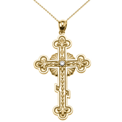 Yellow Gold Elegant Eastern Orthodox Diamond Cross Pendant Necklace