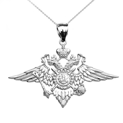 White Gold Double-headed Imperial Eagle Russian Coat of Arms Pendant Necklace