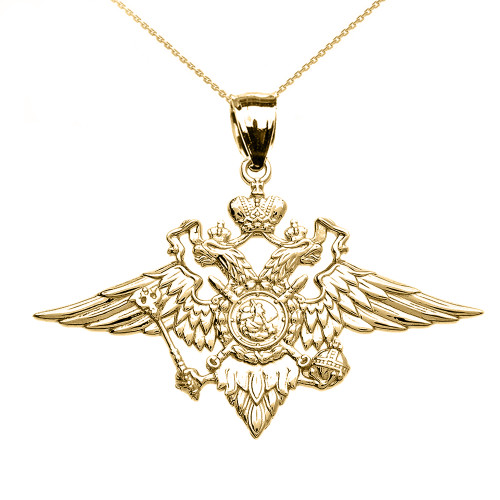 Yellow Gold Double-headed Imperial Eagle Russian Coat of Arms Pendant Necklace