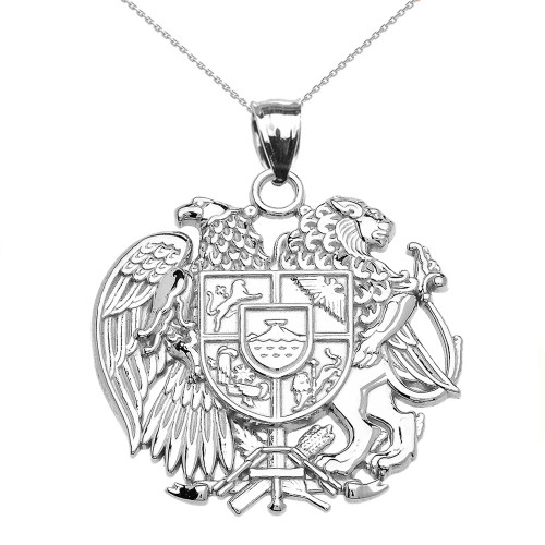 White Gold Armenian National Coat of Arms Eagle and Lion Pendant Necklace