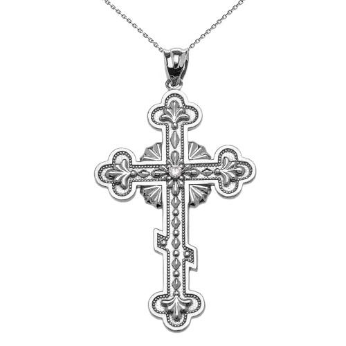 Sterling Silver Elegant Eastern Orthodox Cubic Zirconia Cross Pendant Necklace