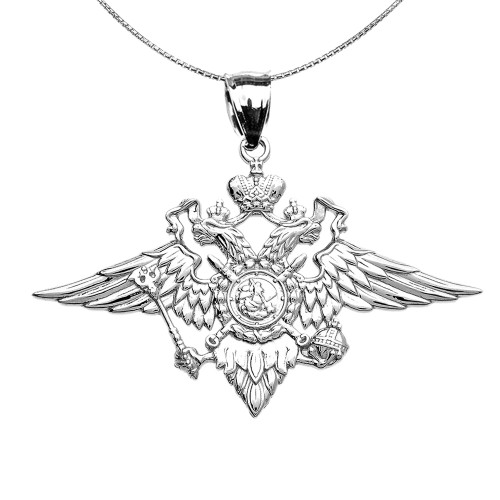 Sterling Silver Double-headed Imperial Eagle Russian Coat of Arms Pendant Necklace