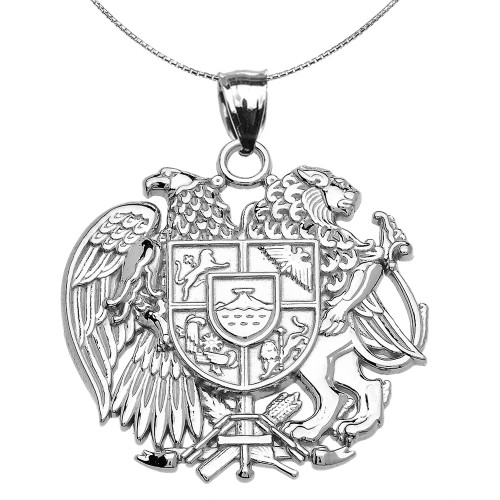 Sterling Silver Armenian National Coat of Arms Eagle and Lion Pendant Necklace