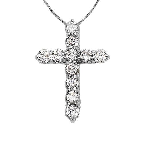 Elegant White Gold 3 Carat Round Cubic Zirconia Small Cross Pendant Necklace