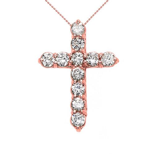 Elegant Rose Gold 3 Carat Round Cubic Zirconia Small Cross Pendant Necklace