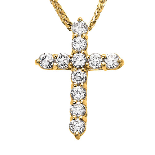 Yellow Gold Elegant 4 Carat Round Cubic Zirconia Cross Pendant Necklace (Medium)