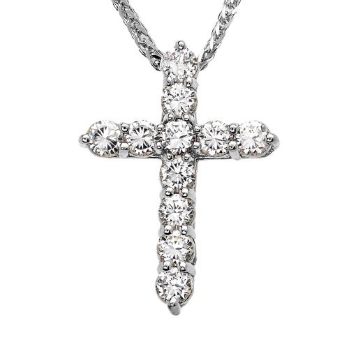 White Gold Elegant 4 Carat Round Cubic Zirconia Cross Pendant Necklace (Medium)