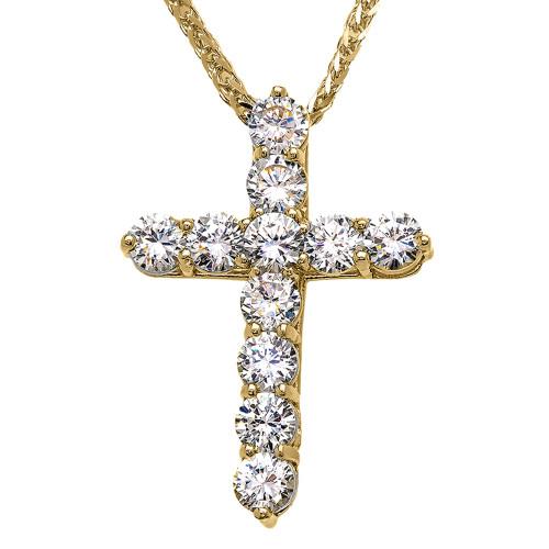 Yellow Gold Elegant 7 Carat Round Cubic Zirconia Cross Pendant Necklace (Large)