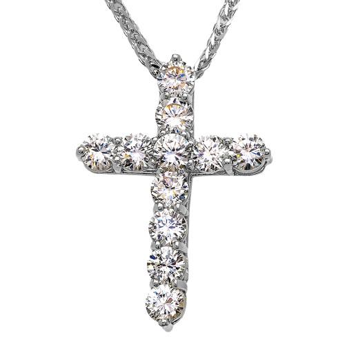 White Gold Elegant 7 Carat Round Cubic Zirconia Cross Pendant Necklace (Large)