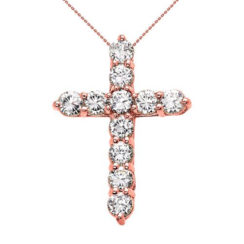 Rose Gold Elegant 4 Carat Round Cubic Zirconia Cross Pendant Necklace (Medium)