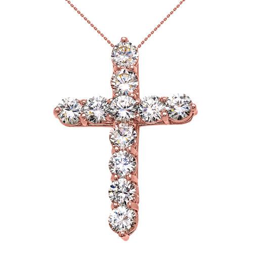 Rose Gold Elegant 7 Carat Round Cubic Zirconia Cross Pendant Necklace (Large)