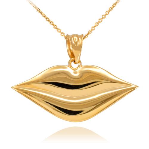 Polished Gold Lips Pendant Necklace