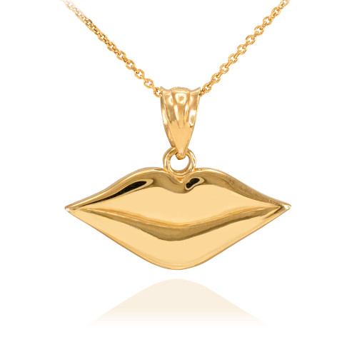 Polished Gold Lips Charm Necklace