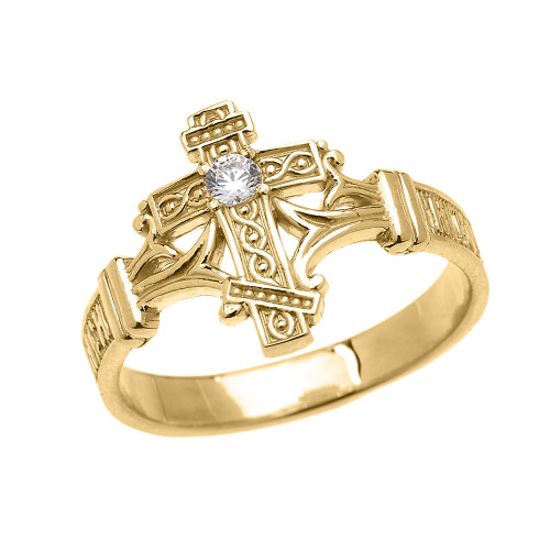 Yellow Gold Solitaire Cubic Zirconia Orthodox Cross with Encrypted Russian Prayer Elegant Ring