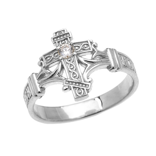 White Gold Solitaire Cubic Zirconia Orthodox Cross with Encrypted Russian Prayer Elegant Ring