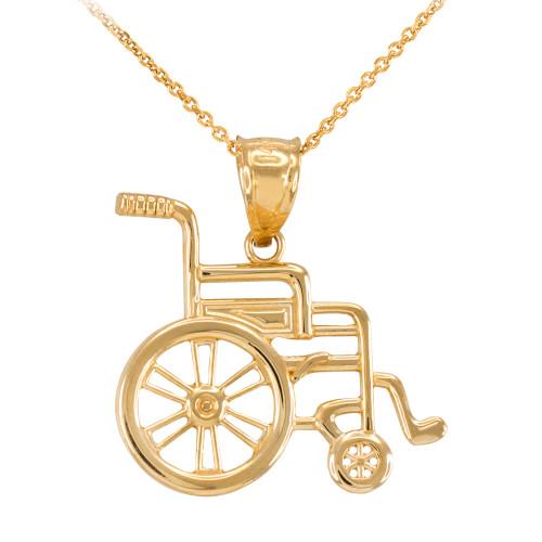 Yellow Gold Handicap Disability Awareness Wheelchair Pendant Necklace