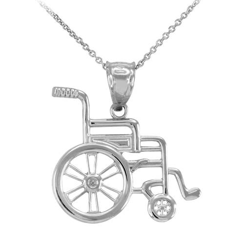 White Gold Handicap Disability Awareness Wheelchair Pendant Necklace