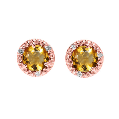 Halo Stud Earrings in Rose Gold with Solitaire Citrine and Diamonds