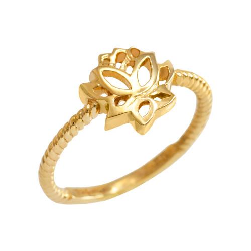 Gold Beaded Lotus Flower Ring