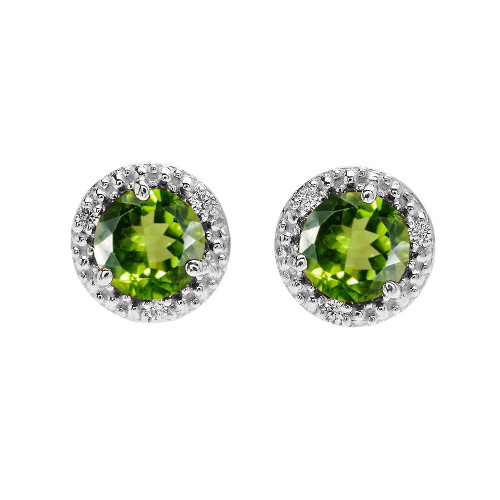 Halo Stud Earrings in White Gold with Solitaire Peridot and Diamonds