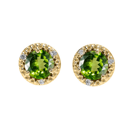 Halo Stud Earrings in Yellow Gold with Solitaire Peridot and Diamonds