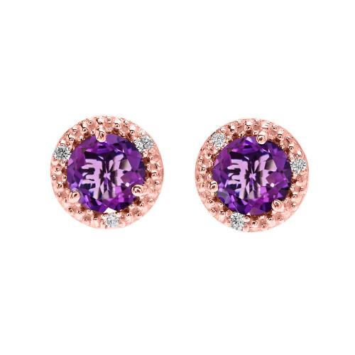 Halo Stud Earrings in Rose Gold with Solitaire Amethyst and Diamonds