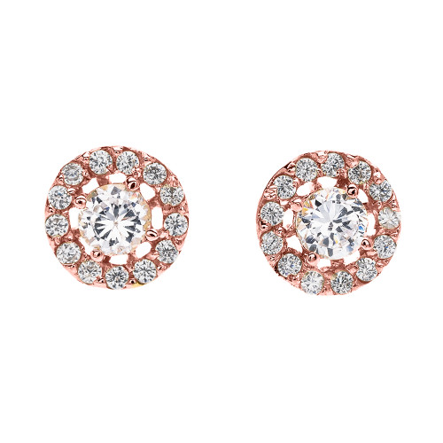 Halo Diamond Stud Earrings in Rose Gold