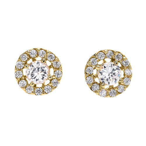 Halo Diamond Stud Earrings in Yellow Gold