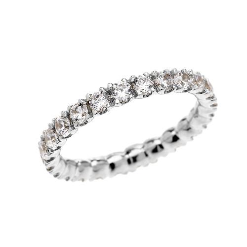 White Gold 1.5 Carat Diamond Stackable Wedding Band