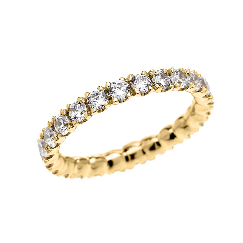 Yellow Gold 2 Carat Cubic Zirconia Stackable Wedding Band