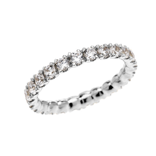 White Gold 2 Carat Cubic Zirconia Stackable Wedding Band