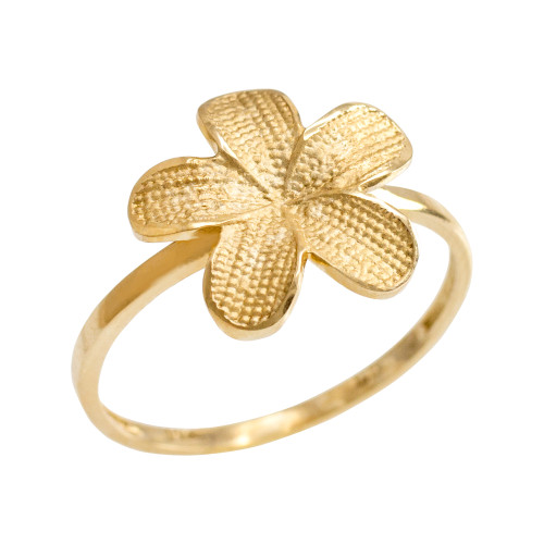 Gold Textured Hawaiian Plumeria Flower Ring