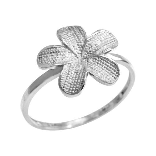 White Gold Textured Hawaiian Plumeria Flower Ring