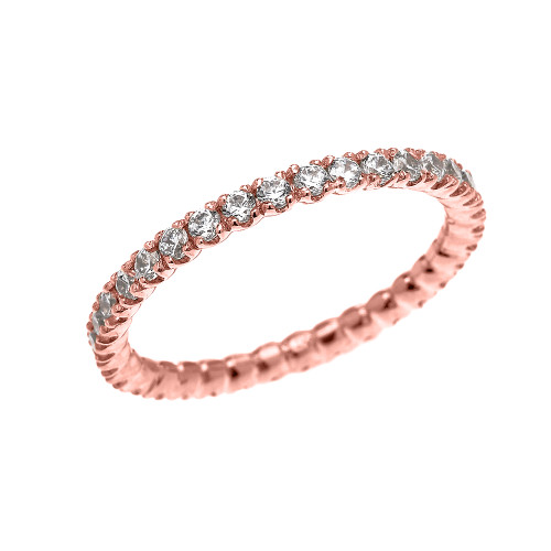 Rose Gold 1.5 Carat Cubic Zirconia Stackable Wedding Band