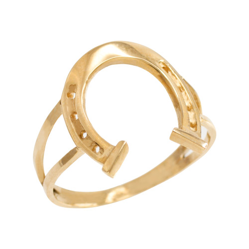 Gold Classic Good Luck Horseshoe Ring